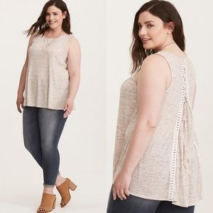 Torrid Sz 4x RIBBED KNIT LACE UP SWING TANK TOP